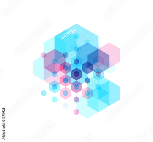 Fototapeta Abstract geometric background with transparent colored figures. Template for poster, flyer, banner or book cover. Vector illustration for design obraz