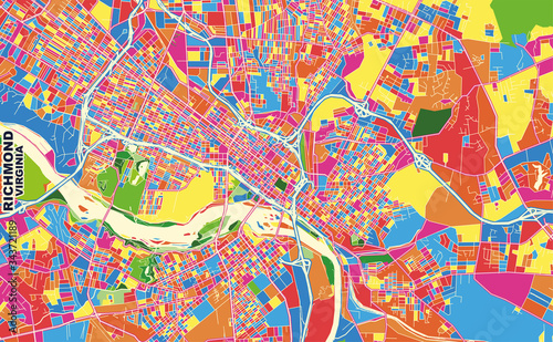 Fotomural Richmond, Virginia, U.S.A., colorful vector map