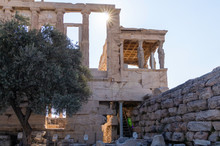 View Of The Erechtheon At The Acropolis Of Athens Within The Bounded Area Of The Archaeological Site, Athens With The Portico Of The Caryatids, Greece