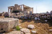 View From A Side Of The Erechtheon On The Acropolis Of Athens With A View Of The Portico Of The Caryatids, Athens, Greece