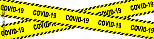 Photo Yellow And Black Covid 19 Danger Ribbon