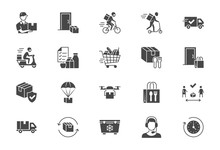 Food Delivery Flat Icons. Vect...