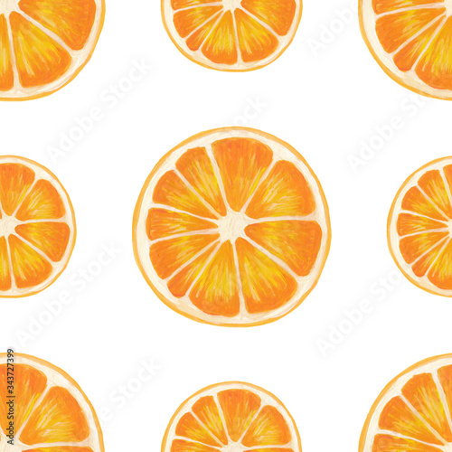 seamless pattern with half orange isolated on a white background. Hand-drawn illustration with cut orange in realistic style on white.