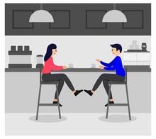 Drinking Coffee Shop Concept Vectors