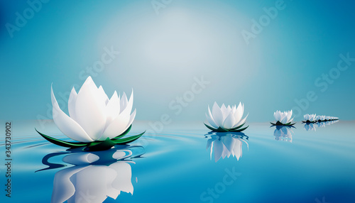 Fototapety, obrazy: 3d lots flower on calm ripple water