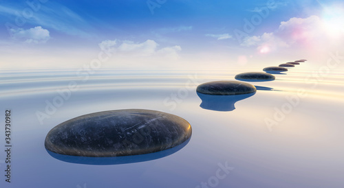 Fotografía 3d render of black stones on calm sea water