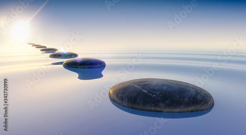 Fotografia 3d render of black stones on calm sea water