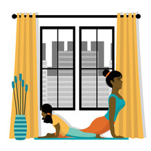 Family Yoga At Home Concept. M...