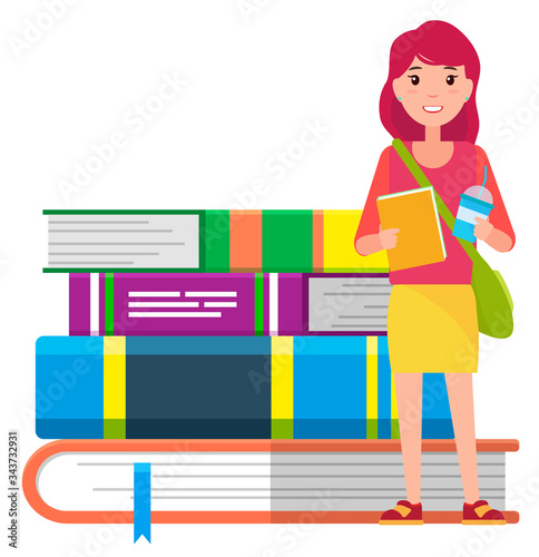 Girl with copybook, beverage and handbag ready for studying Canvas Print