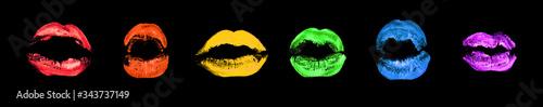 Fotografía LGBTQ community rainbow flag color lipstick kiss print set black background isol