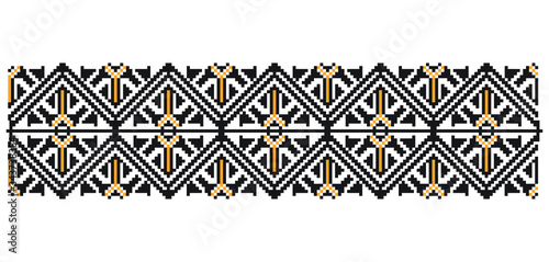 Traditional Romanian folk art knitted embroidery pattern Canvas