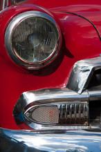 Details Of A Classic American Car In Old Havana, Cuba