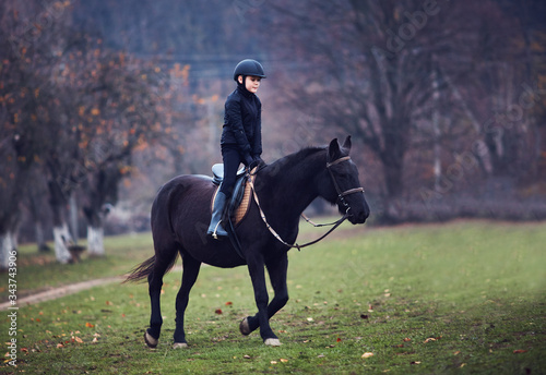 young boy, kid is taking a horse riding lesson, equestrian sport, horseback ride Wallpaper Mural