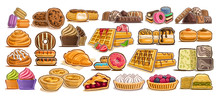 Vector Set Of Assorted Desserts, Lot Collection Of 23 Isolated Illustrations Of Delicacy Cakes And Gastronomy Delicious Desserts, Group Of Many Cut Out Diverse Baked Goods For Cafe Or Restaurant Menu.