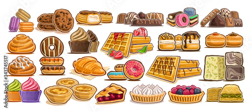 Fotografia, Obraz Vector Set of assorted Desserts, lot collection of 23 isolated illustrations of delicacy cakes and gastronomy delicious desserts, group of many cut out diverse baked goods for cafe or restaurant menu