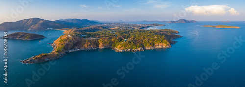 Aerial panorama of the Promthep cape - southernmost tip of the island of Phuket, Thailand - 343746764