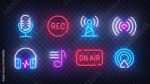 Podcast icon neon. Podcast light signs. Sign boards, line art light banner. Vector Illustration