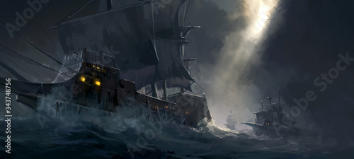 Stampa su Tela Digital painting of ancient warships traveling on rough seas.