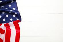 American Flag On White Backgro...