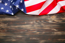 American Flag On Brown Wooden ...