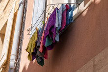 Laundry Hanging Outside A Wind...