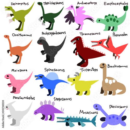 Icons of Deinonychus, tyrannosaurus, Spinosaurus, ornithomimus, Archaeopteryx, t фототапет