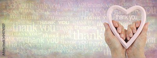 Photo Heart felt thank you background banner -  female hands holding a pink flesh colo