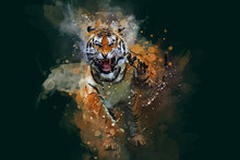 Tiger In The Watercolor