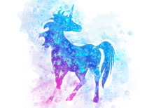 Watercolor Painting Of Unicorn