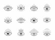 Vector eye boho design. Outline eyes symbols, tattoo design