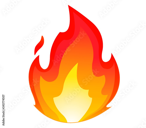 High quality fire emoticon isolated on white background.Fire emoji vector illustration.