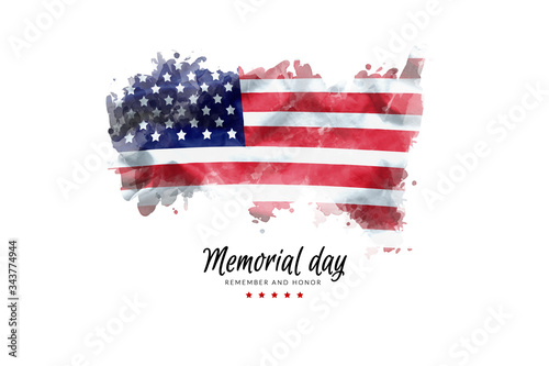 Fototapeta Memorial Day background illustration. text Memorial Day, remember and honor with America flag watercolor painting isolated on white background, vintage grunge style obraz