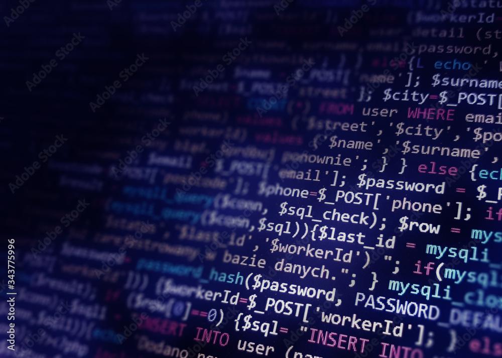 Fototapeta Blue software developer background. Software development by programmer. Abstract computer script code.