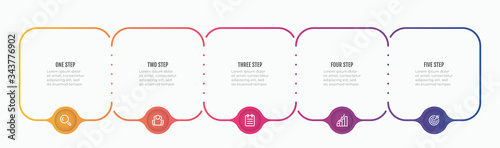 Fototapeta Timeline infographic template design elements with thin line process and marketign icons. Business concept with 5 steps, options. obraz