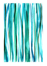 Watercolor Vertical Green Blue Stripes For Background