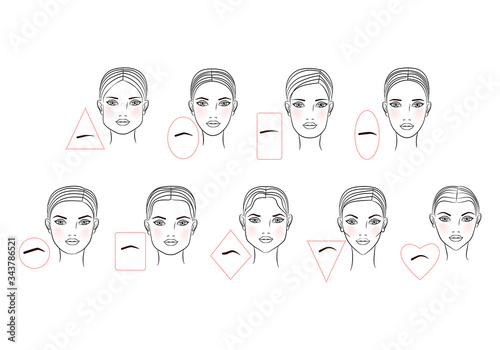 Photo Female eyebrow shapes in accordance with the shape of the face