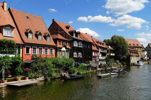 Beautiful shot of Klein Venedig Bamberg Germany across a river with boats on a c Fototapet