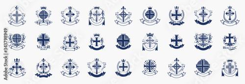 Photo Crosses secrets emblems vector emblems big set, Christian religion heraldic design elements collection, classic style heraldry symbols, antique designs