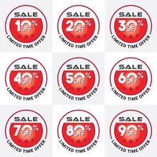 A Limited Time Offer Sale Tags Set Vector Badges Template, 10 Off, 20 %, 30, 40, 50, 60, 70, 80, 90 Percent Sale Label Symbols.