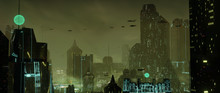 Futuristic Dystopian City With...