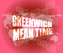 Greenwich Mean Time Word On Di...