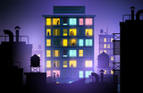 Fototapeta Nowy Jork - People looking out of windows in a city apartment block. Urban lifestyle at night. Vector illustration.
