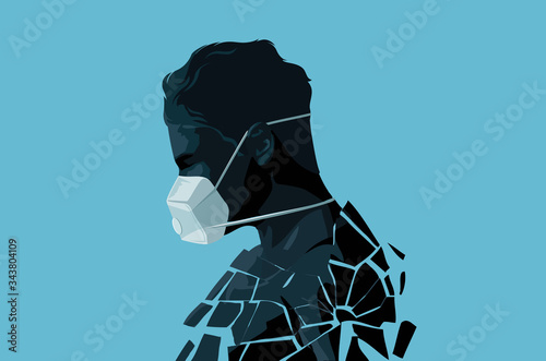 A fractured self isolated man wearing a face mask in the Covid-19 crisis Canvas Print