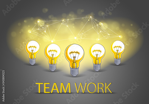 Creative team concept, group of five shining light bulbs represents idea of creative people teamwork having ideas working together, vector illustration Wallpaper Mural