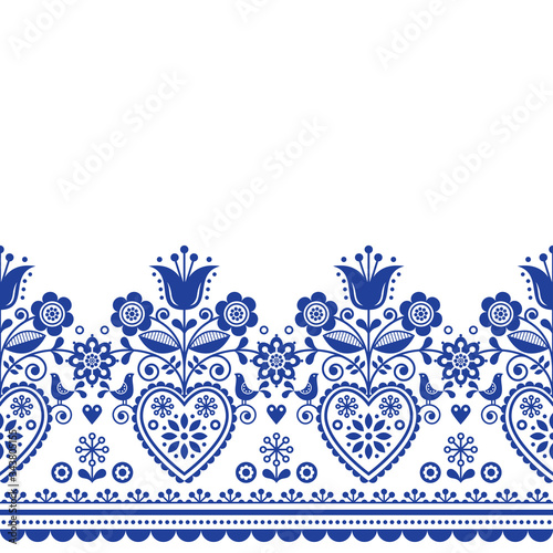 Scandinavian folk art greeting card vector pattern with birds and flowers, Nordi Wallpaper Mural