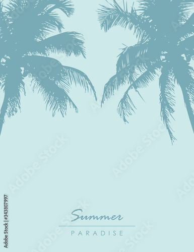 Photo summer holiday palm tree tropical background vector illustration EPS10