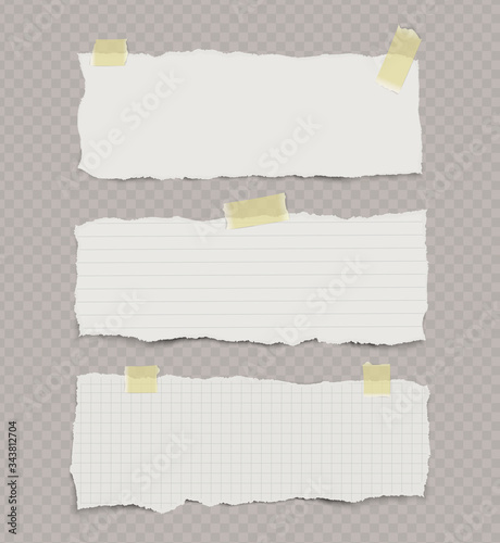 Foto Set of ripped torn notebook papers with yellow sticky tape on transparent background