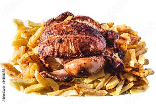delicioso pollo al horno con patatas fritas Wallpaper Mural