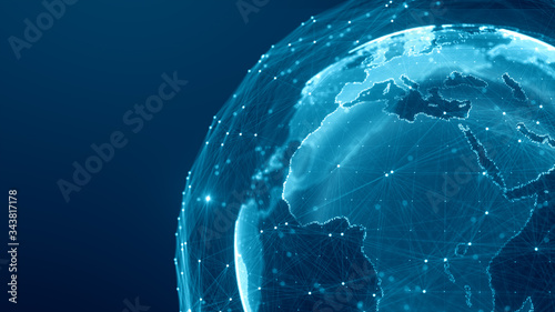 Fototapeta Communication technology global world network concept. Connection lines Around Earth Globe, Motion of digital data flow. Futuristic Technology Theme Background with Light Effect. obraz