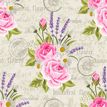 Seamless Floral Pattern With Pink Roses And Lavenders On Vintage Postcard Background. Vector Illustration